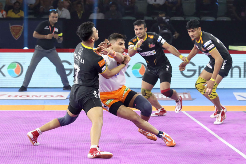 Players in action during PKL match in New Delhi on Friday.