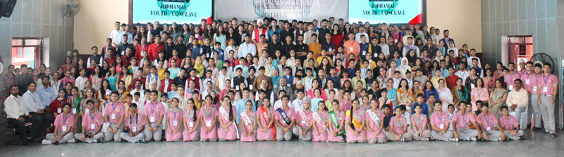 Delegates posing for a group photograph along with dignitaries during Jodhamal Youth Conclave on Friday.