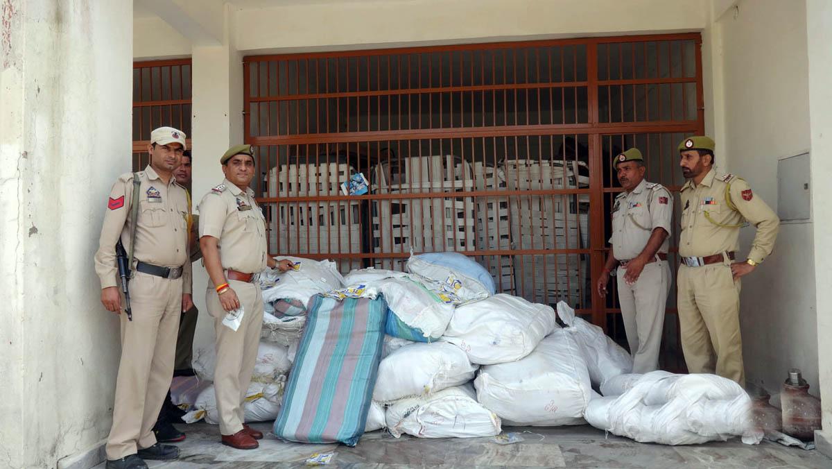 Seized polythene bags in custody of GRP Katra.