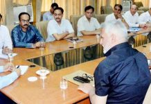 Advisor K K Sharma chairing a meeting at Jammu on Tuesday.