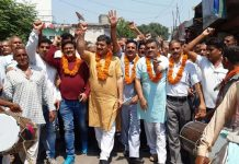 MP Jugal Kishore Sharma celebrating abrogation of Article 370 with border residents at Pargwal on Friday.