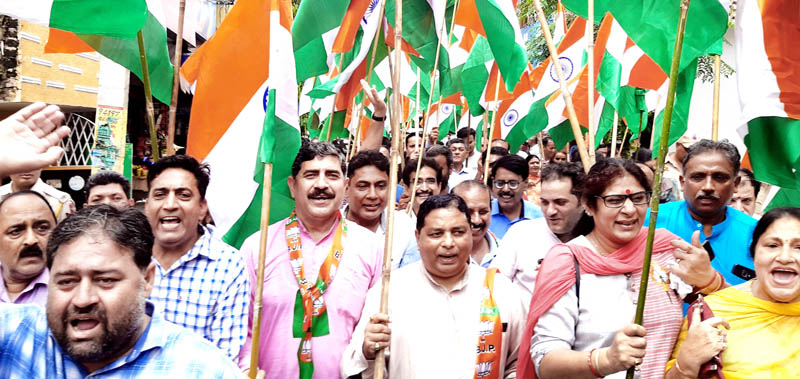 BJP leaders and activists taking out a rally in Jammu on Tuesday.