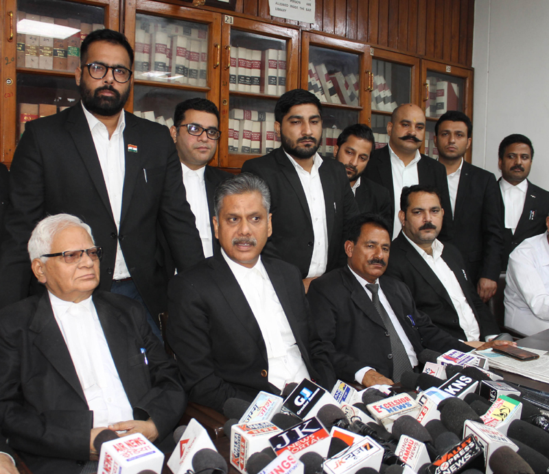 J&K High Court Bar Association Jammu president Abhinav Sharma addressing press conference on Thursday. — Excelsior/Rakesh