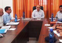 Advisor K K Sharma chairing a meeting at Lakhanpur on Sunday.