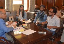 Advisor K K Sharma chairing a meeting on Friday.