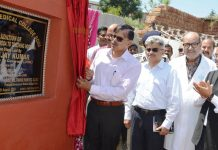 Advisor K Vijay Kumar laying foundation stone of 300 bedded hospital at Doda on Thursday.