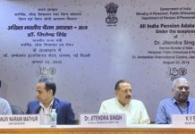 Union Minister Dr Jitendra Singh holding video Conference with pensioners across the country, during All-India Pension Adalat, at Ambedkar Bhawan, New Delhi on Friday.