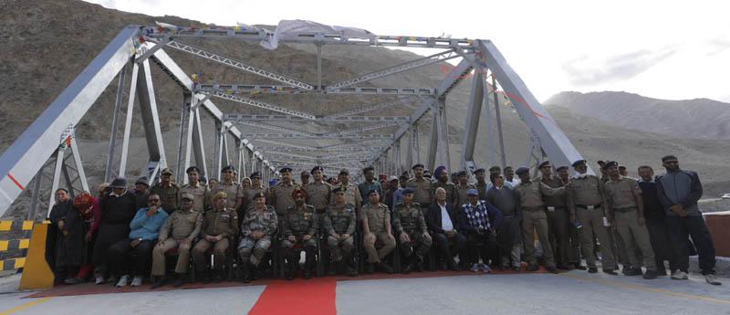 BRO team posing near bridge on Nimmu-Padam road after its inauguration.