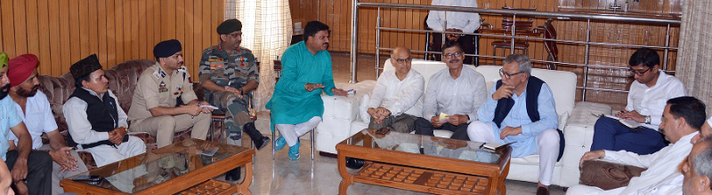 Advisors during a meeting in Rajouri on Thursday.