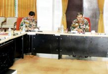 White Knight Corps Commander, Lt Gen Paramjit Singh chairing a conference in Nagrota Military Station, Jammu.