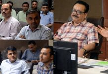 Advisor K Skandan chairing a meeting at Jammu on Saturday.