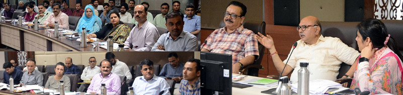 Advisor K Skandan chairing a meeting at Jammu on Saturday.