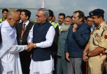 Advisor Farooq Khan receiving Hajis at Srinagar airport on Sunday.