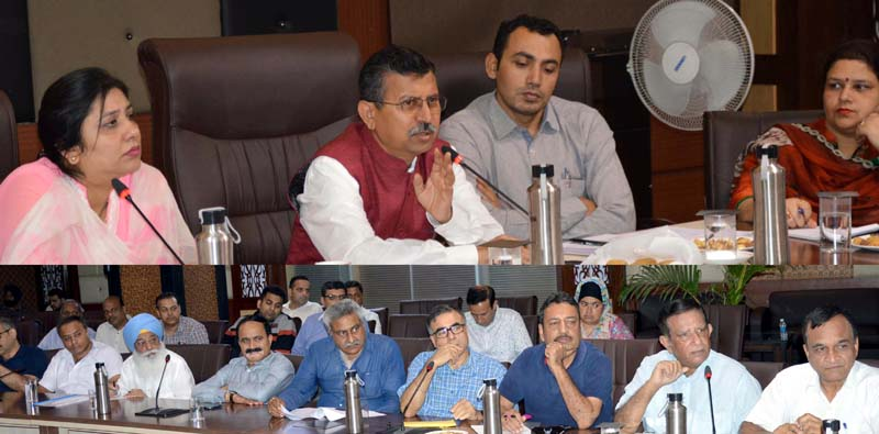 Union Joint Secretary Industries, Rajendra Ratnoo chairing a meeting at Jammu on Wednesday.