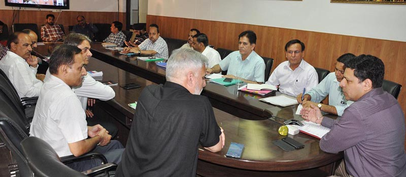 Divisional Commissoner, Jammu Sanjeev Verma chairing a meeting on Thursday.