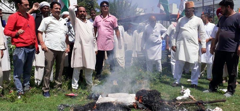 Gujjars protesting against killing of two members of their community at Trikuta Nagar on Wednesday.