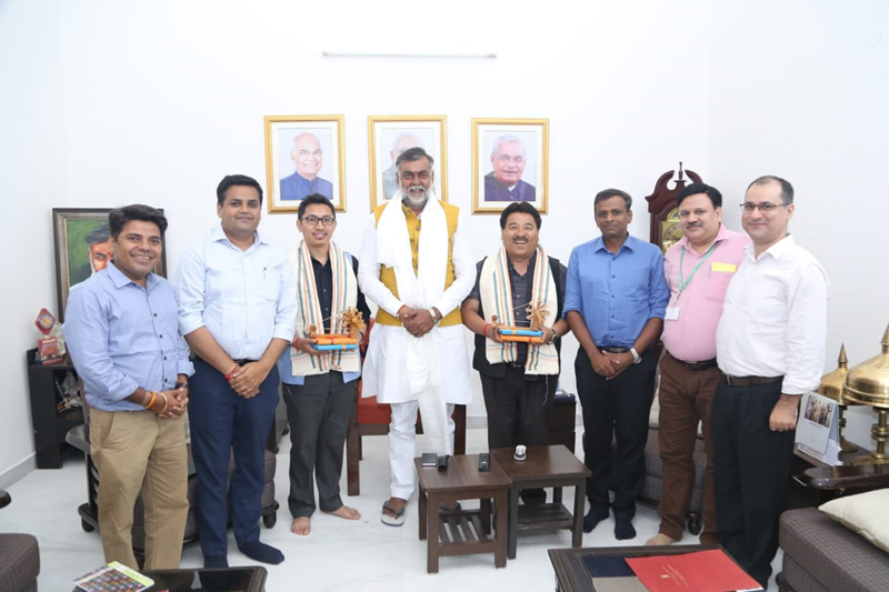 CEC LAHDC Leh, Gyal P Wangyal and MP Ladakh, Jamyang Tsering Namgyal posing with Prahlad Singh Patel, Union Minister for Culture and Tourism (Independent Charge) at New Delhi.