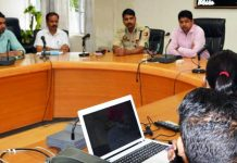 DC Dr Raghav Langar chairing a meeting at Kathua on Sunday.