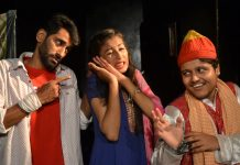 A scene from the play 'Kamra No. 9' staged at Jammu on Sunday.