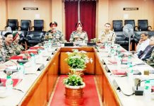 General Officer Commanding-in-Chief, Northern Command Lt Gen Ranbir Singh chairing a meeting on Tuesday.