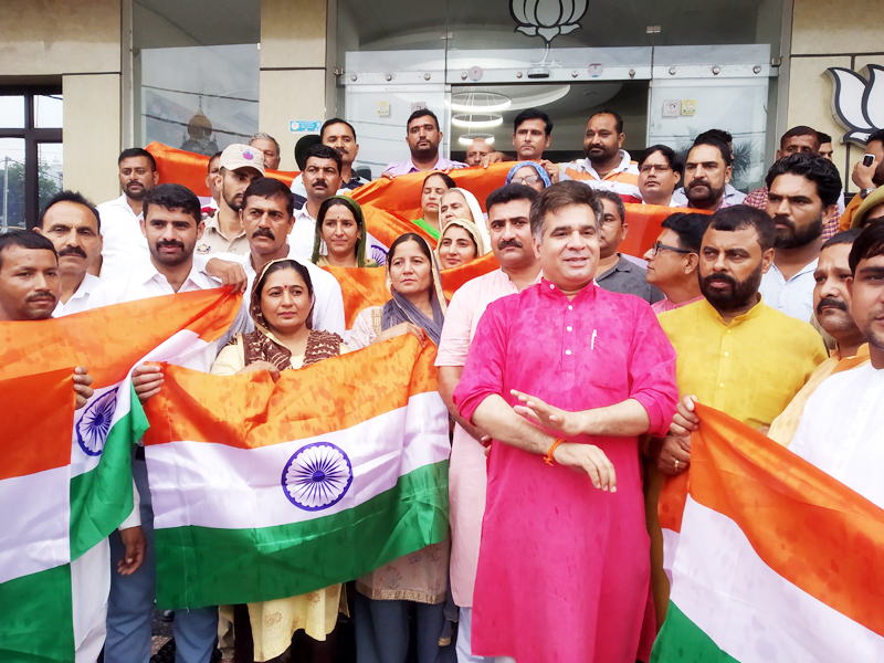 BJP State president, Ravinder Raina with Sarpanches and Panches at party headquarters at Trikuta Nagar on Friday.