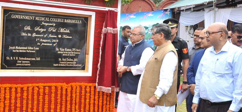 Governor Satya Pal Malik inaugurating GMC Baramulla on Thursday.