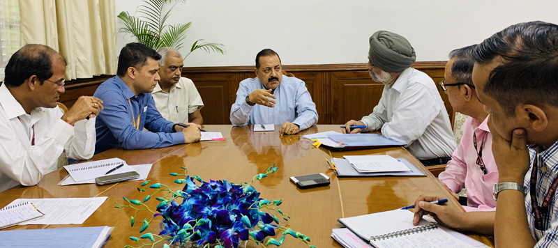 Union Minister Dr Jitendra Singh presiding over a joint meeting of Ministry of Northeast (DoNER) and North-Eastern Council (NEC), at New Delhi.