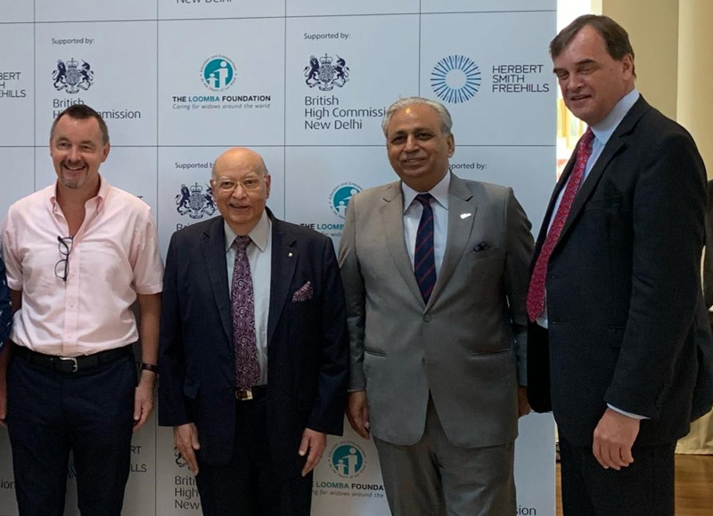 Officials of Tech Mahindra Foundation and The Loomba Foundation posing for photograph after announcing their collaboration.