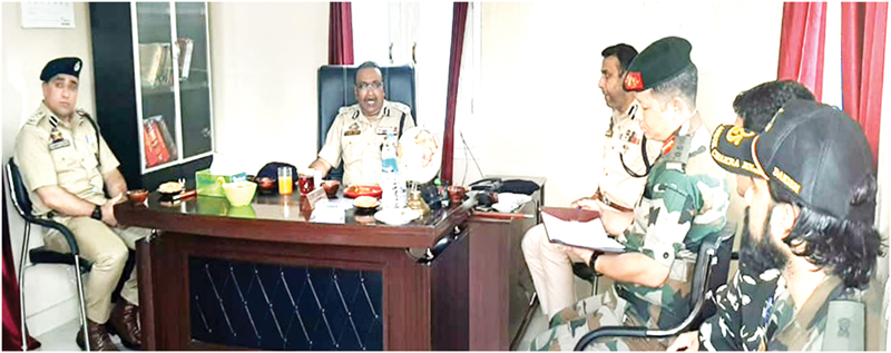 DGP Dilbag Singh chairing a meeting on Thursday.