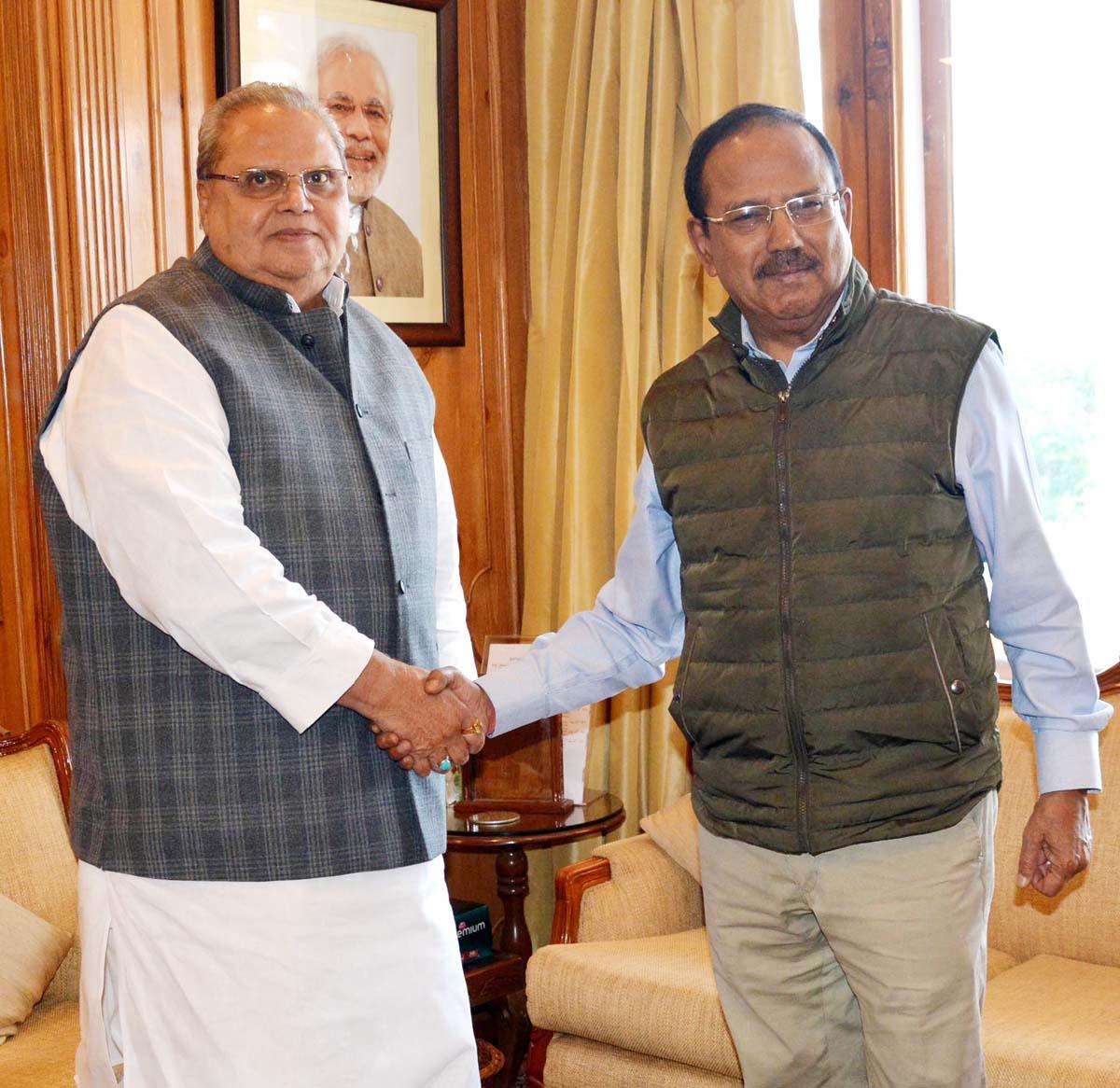 Governor Satya Pal Malik and NSA Ajit Doval during a meeting in Srinagar on Tuesday.