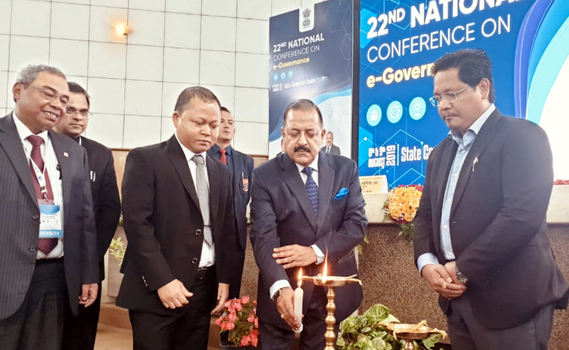 Union Minister Dr Jitendra Singh, flanked by Chief Minister Meghalaya Conard Sangma, lighting the traditional lamp to declare open the two- day National Conference on e-governance, at Shillong on Thursday.
