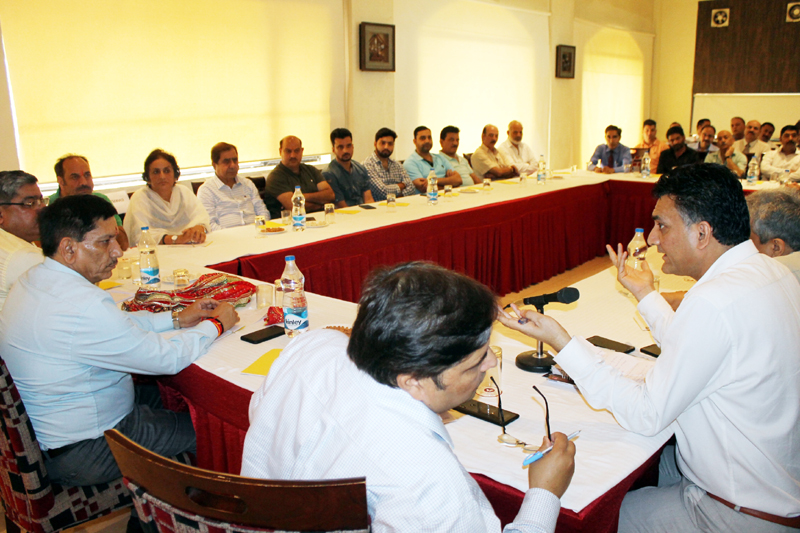 Chairman J&K Bank, R K Chibber at a meeting with hoteliers and PHDCCI members at Katra on Wednesday.