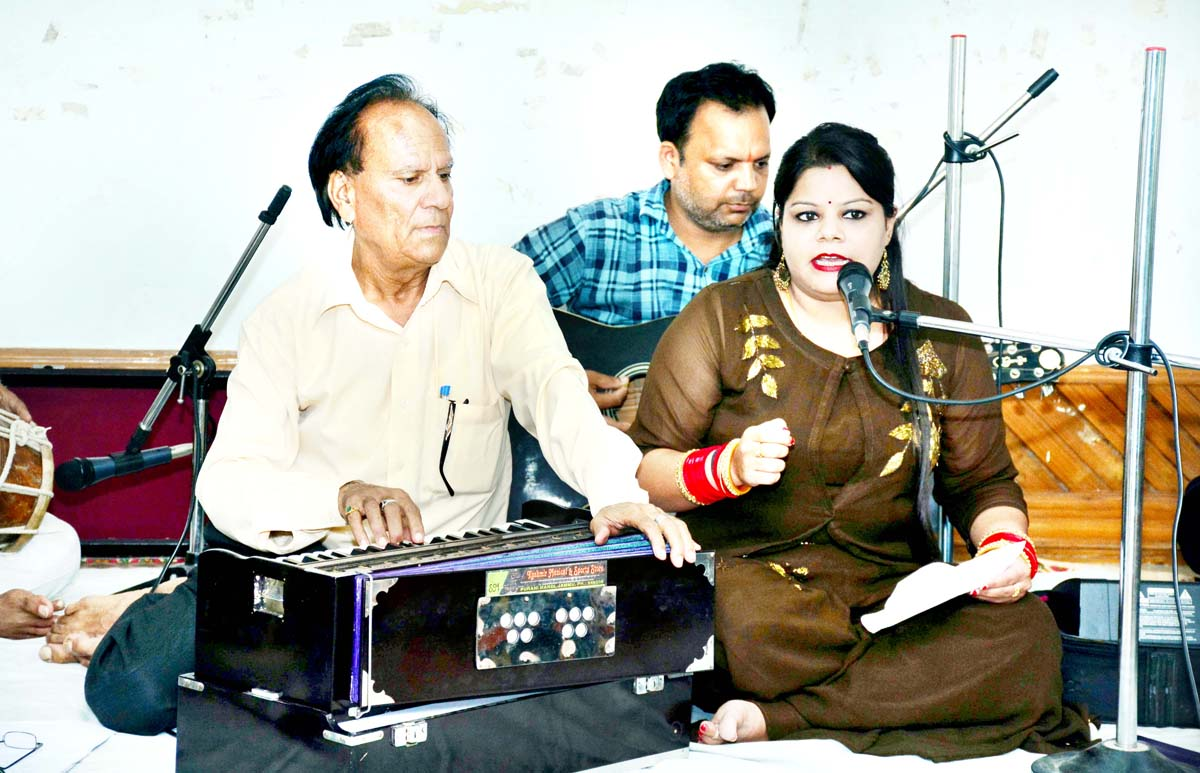 Artists presenting a musical item during Dogri Sangeet Sandhya on Sunday.