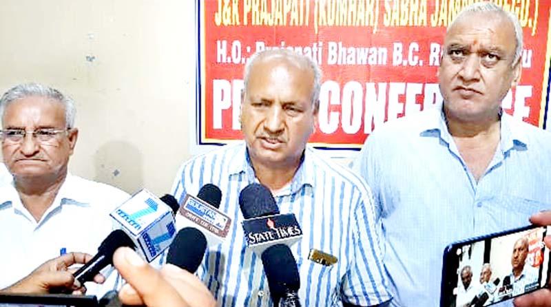 F.C. Satia, Gen. Secy of Prajapati Sabha addressing press conference at Jammu on Sunday.