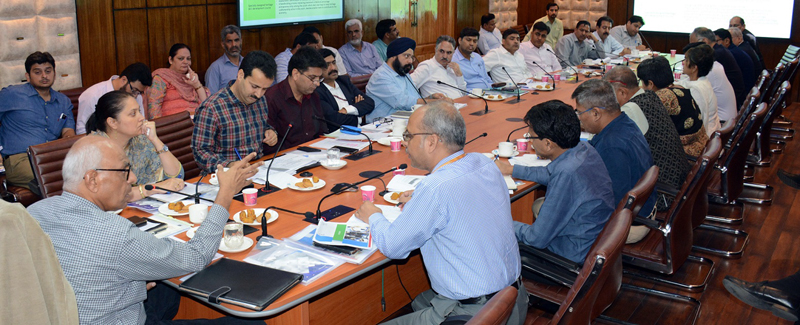Secretary Ministry of Skill Development & Entrepreneurship Dr K P Krishnan chairing a meeting at Srinagar.