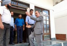 Justice Magrey during his visit to Juvenile Home at Srinagar on Tuesday.