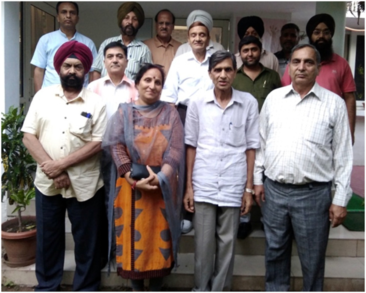 DSS leaders at a meeting in Jammu on Saturday.
