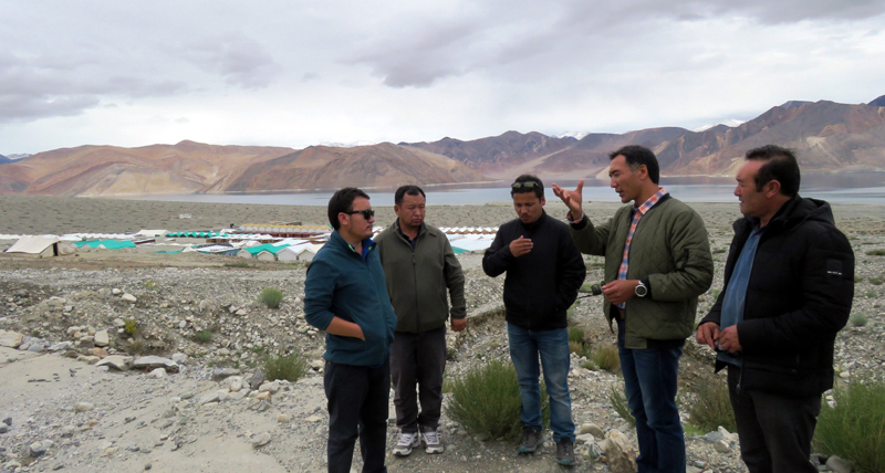 Dy Chairman LAHDC Leh and others visiting Pangong area.