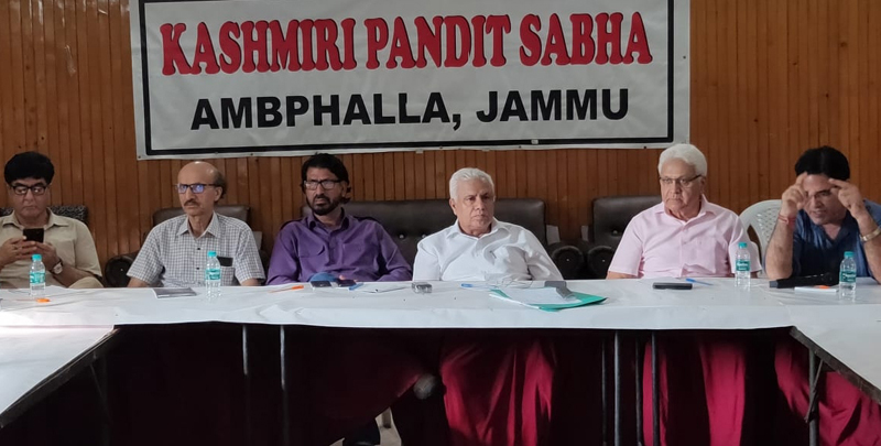 KP intelectuals during a meeting at Jammu on Saturday.