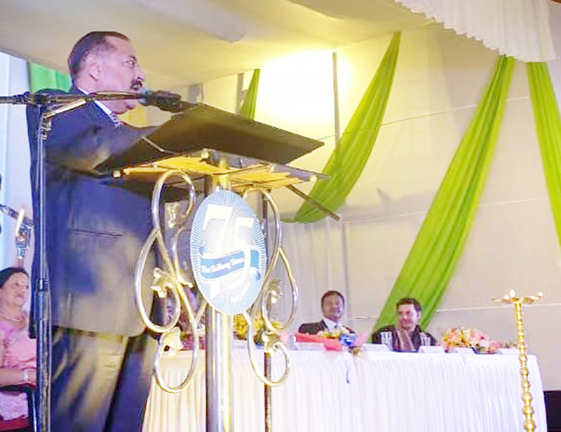 Union Minister Dr Jitendra Singh addressing a gathering of media persons and journalists at the 75th Platinum Jubilee celebration of English Daily