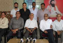 President All J&K Guru Ravi Dass Sabha Piran Ditta addressing a press conference in Jammu. —Excelsior/Rakesh