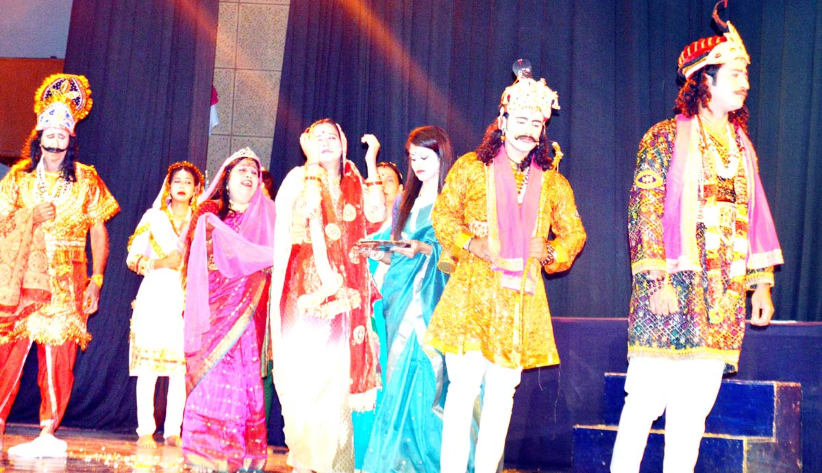 A scene from Dogri Musical Play 'Raja Mandlik' staged at Jammu on Sunday.