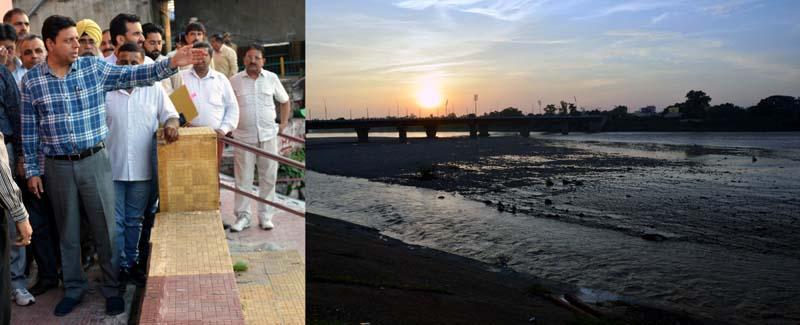 Divisional Commissioner Sanjeev Verma during visit to Vikram Chowk on Thursday.