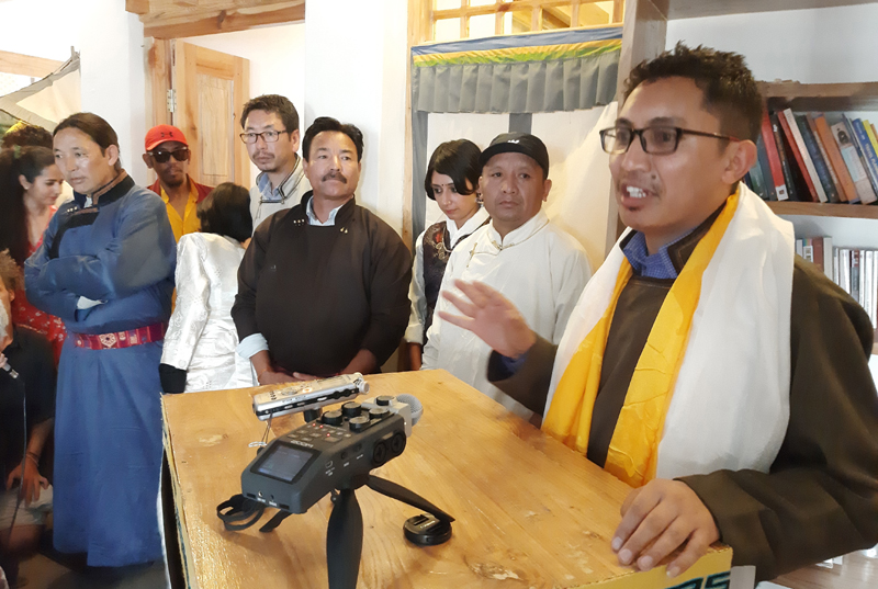 MP Ladakh Jamyang Tsering Namgyal inaugurating film festival at Leh on Tuesday. —Excelsior/Morup Stanzin