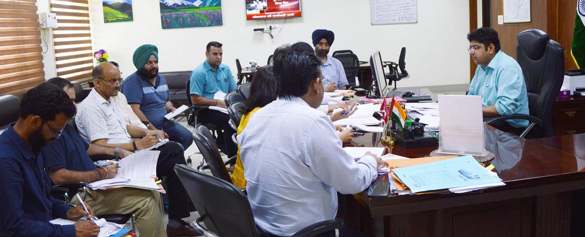 District Development Commissioner, Kathua Dr Raghav Langer chairing a meeting on Tuesday.