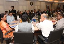 Union Minister for Finance and Corporate Affairs Nirmala Sitharaman chairing the meeting with the Heads of Public/Private Sector Banks, in New Delhi on Monday. (UNI)