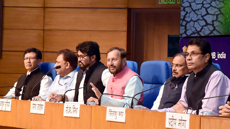 Union Minister for Environment, Forest & Climate Change and Information & Broadcasting, Prakash Javadekar addressing the curtain raiser press conference on Parties (COP14) of the United Nations Convention to Combat Desertification to be held in India from 2nd – 13th September, in New Delhi on Tuesday.