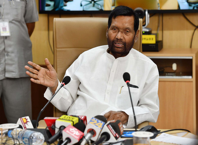 Union Minister for Consumer Affairs, Food and Public Distribution, Ram Vilas Paswan addressing at the inauguration of the pilot cluster scheme on 'One Nation One Ration Card', in New Delhi on Friday.
