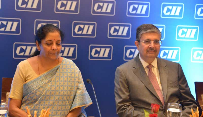 Union Finance Minister Nirmala Sitharaman with President Elect CII Uday Kotak at a seminar on investment in Jammu and Kashmir, in New Delhi on Friday. (UNI)
