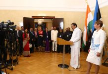 Vice President, M. Venkaiah Naidu addressing the media along with the President of the Republic of Estonia, Ms. Kersti Kaljulaid, in Tallinn, Estonia on Wednesday.